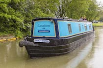 The Lady Blue Sky canal boat operating out of Anderton
