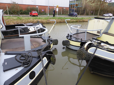 Boats moored on the Stratford-upon-Avon Canal